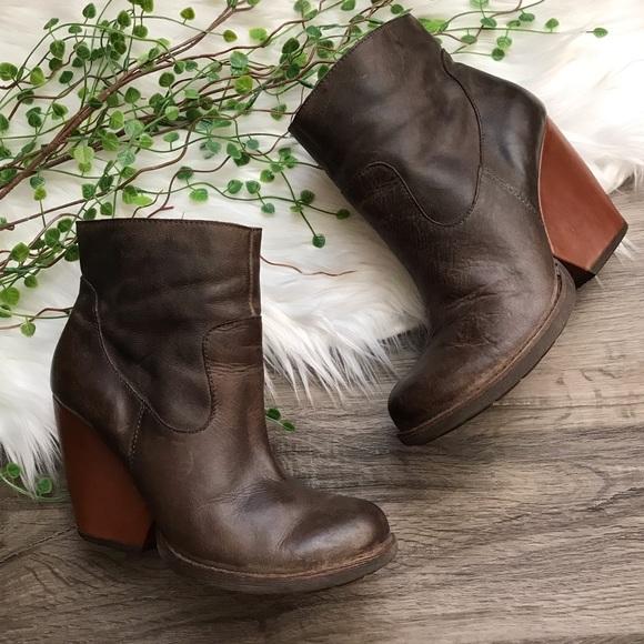 3690ed8cfbf3 Kork-Ease Shoes - Kork-Ease Michelle Leather Block Heel Wedge Bootie